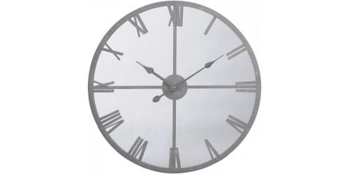Framed Mirrored Grey Wall Clock