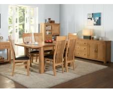 Tamworth Solid Oak / Oak Veneer 6' extension dining set (Extended) - Standard