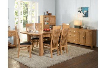 Tamworth Solid Oak / Oak Veneer 4' extension dining set (Extended) - Standard