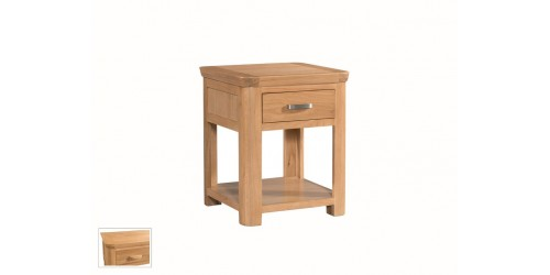 Tamworth Solid Oak / Oak Veneer End Table With Drawer - Standard