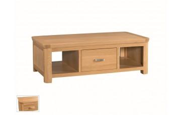 Tamworth Solid Oak / Oak Veneer Large Coffee Table with Drawer - Standard