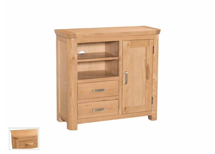 Tamworth Solid Oak / Oak Veneer Media Unit - Standard