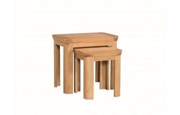 Tamworth Solid Oak / Oak Veneer Nest of 2 Tables - Standard