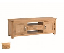 Tamworth Solid Oak / Oak Veneer Wide TV Unit - Standard
