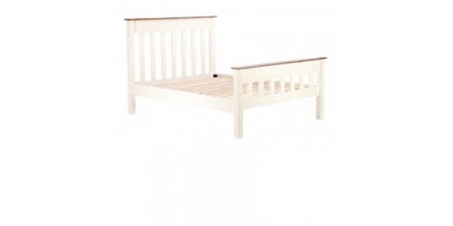 Canterbury 4ft6 Panel Bed Frame in Painted White - Solid Reclaimed Timber