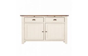 Canterbury Painted White 2 Door Narrow Sideboard - Solid Reclaimed Wood