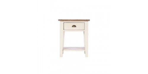 Canterbury Painted White Lamp Table - Solid Reclaimed Timber