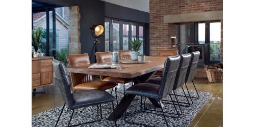Saka 2m Oak Dining Table with Steel Base