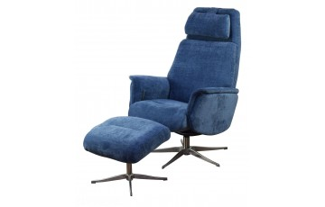 Aldan Reclining Swivel Chair with Footstool