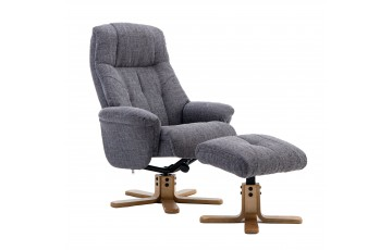 Dubai Reclining Swivel Chair with Footstool