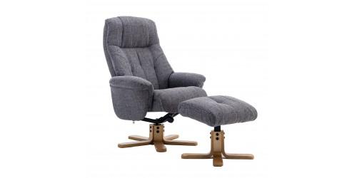 Dubai Reclining Swivel Chair with Footstool