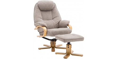 Pescara Reclining Swivel Chair with Footstool