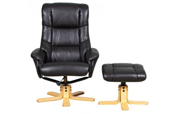 Stuttgart Leather Swivel Recliner Chair - Available in Nut Brown or Cream