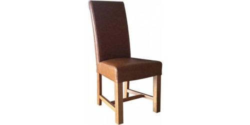 Chunky Scroll Oak Dining Chair in Tan
