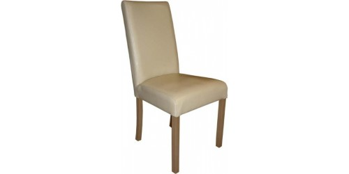 Anna Leather Dining Chair in Cream
