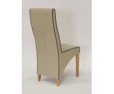 Whistler Leather Dining Chair in Bone/Noir