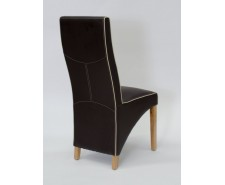 Whistler Leather Dining Chair in Chocolate/Bone