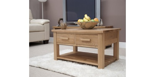 Sherwood Deluxe Oak 3ft x 2ft 2 Drawer Coffee Table