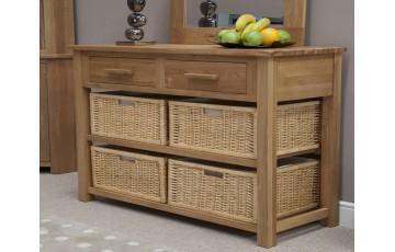 Sherwood Deluxe Oak Hall Table Basket Unit