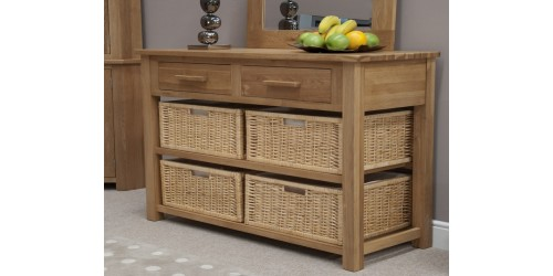 Sherwood Deluxe Oak Hall Table Basket Unit