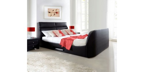 Kaydian Wynn 4ft6 Real Bonded Leather TV Bed Frame