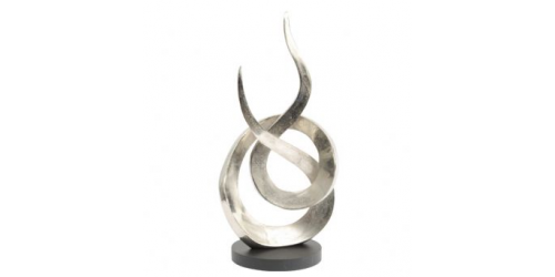 Entwined Flame Silver Aluminium Sculpture Large