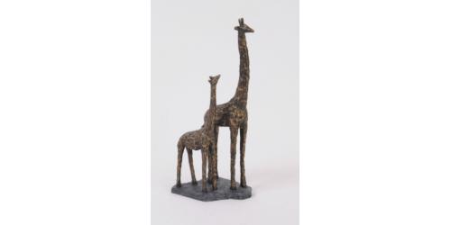 Antique Bronze Mother And Baby Giraffe Resin Sculpture