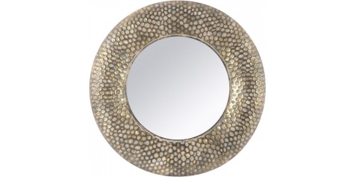 Gold Round Honeycomb Mirror