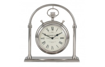 Shiny Nickel Brass & Glass Carriage Clock