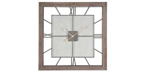 Natural Wood & Metal Square Wall Clock