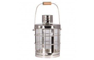 Shiny Nickel, Glass & Wood Colonial Lantern