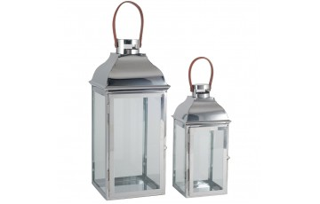 Silver Metal & Glass Set of 2 Lanterns
