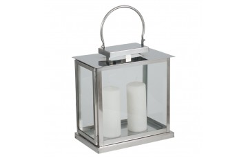 Polished Nickel & Glass Oblong Lantern