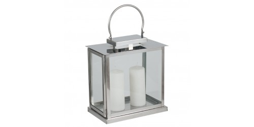 Polished Nickel & Glass Oblong Lantern
