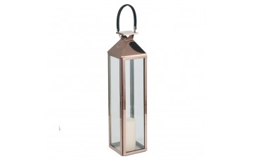 Shiny Copper Stainless Steel & Glass Medium Lantern