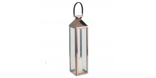 Shiny Copper Stainless Steel & Glass Medium Lantern