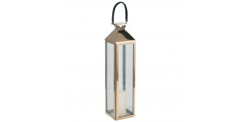 Shiny Gold Stainless Steel & Glass Medium Lantern