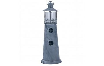Washed Grey Metal Lighthouse Candle Holder Large