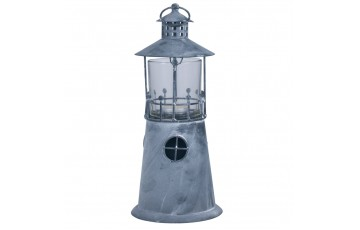 Washed Grey Metal Lighthouse Candle Holder Small