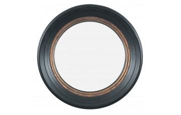 Black & Gold Polyresin Round Convex Small Mirror