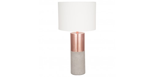 Metal Concrete Lamp Handloom White Shade