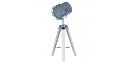 White Wash Wood Tri Pod Lamp with Chrome Detail