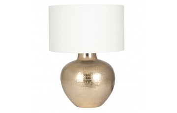 Gold Etch Pot Table Lamp & Cotton Shade