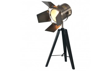 Black Wood Film Light & Antique Brass Head (Table Lamp)