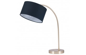 Brass Arc Table Lamp & Black Shade
