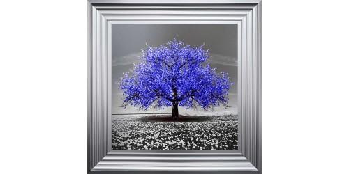Navy Cherry Tree Framed Wall Art 55x55cm