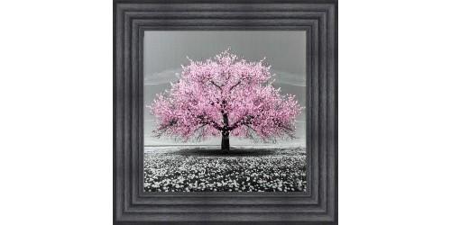 Pink Cherry Tree Framed Wall Art 55x55cm