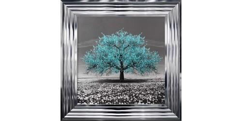 Teal Cherry Tree Framed Wall Art 55x55cm