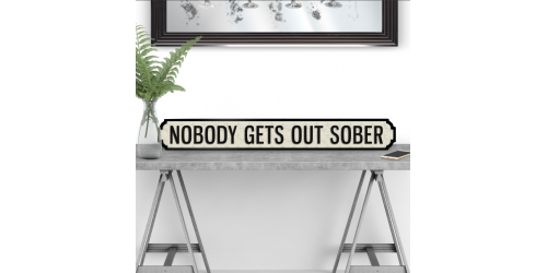 Nobody Gets Out Sober Road Sign