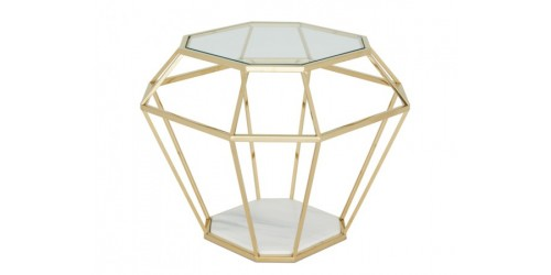 Inca Glass Lamp Table - Gold